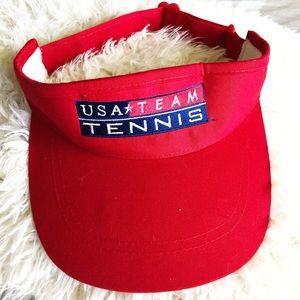 Sporty chic Vintage red USA tennis visor!